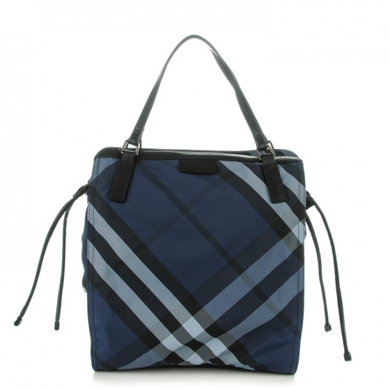 7d6f795f3cab2 BURBERRY Nylon Check Small Buckleigh Packable Tote Navy Blue 143522