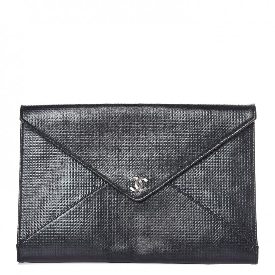 73bfdc279cdc CHANEL Metallic Lambskin Embossed Envelope Clutch Black 284008