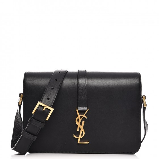 7da77e1ea3d SAINT LAURENT Smooth Calfskin Medium Classic Monogram Universite Bag Black  212911