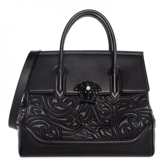 e97ef878fb VERSACE Calfskin Embroidered Large Baroque Palazzo Empire Bag Black 307026