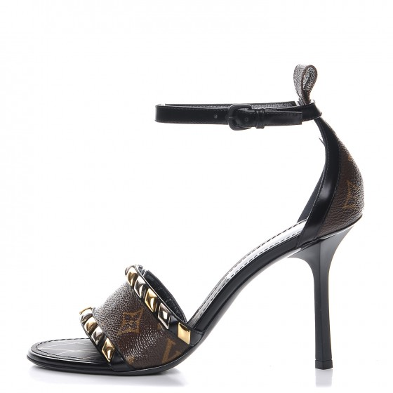 d11b848d03f LOUIS VUITTON Monogram Calfskin Eldorado Heeled Sandals 37 Black 207302