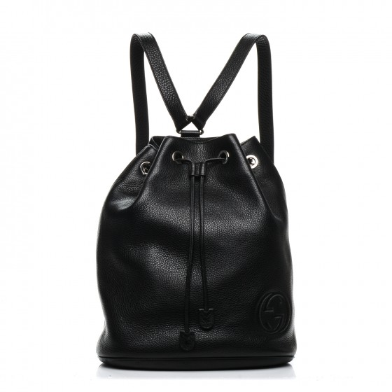 92631af7770 GUCCI Pebbled Calfskin Small Soho Drawstring Backpack Black. Empty.  Pinch Zoom. ‹ › ‹ ›
