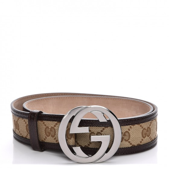 71872745ac1 GUCCI Monogram Interlocking G Belt 85 34 Dark Brown 207134