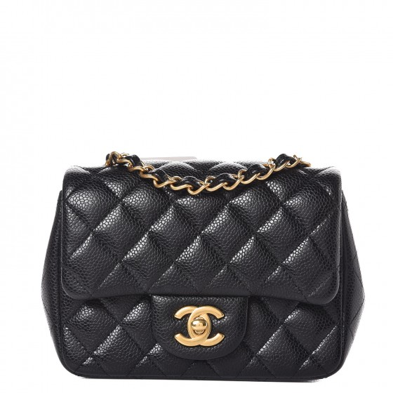1ab92c9625655f CHANEL Caviar Quilted Mini Square Flap Black 380408