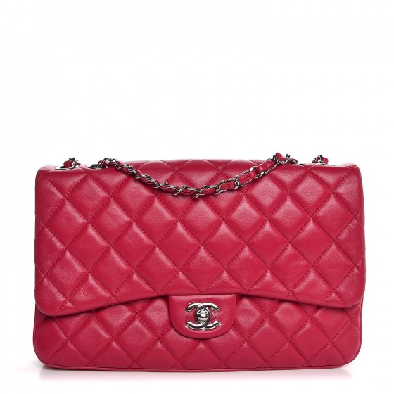 7783c3508f4a CHANEL Lambskin Quilted Jumbo Chanel 3 Flap Bag Pink 322962