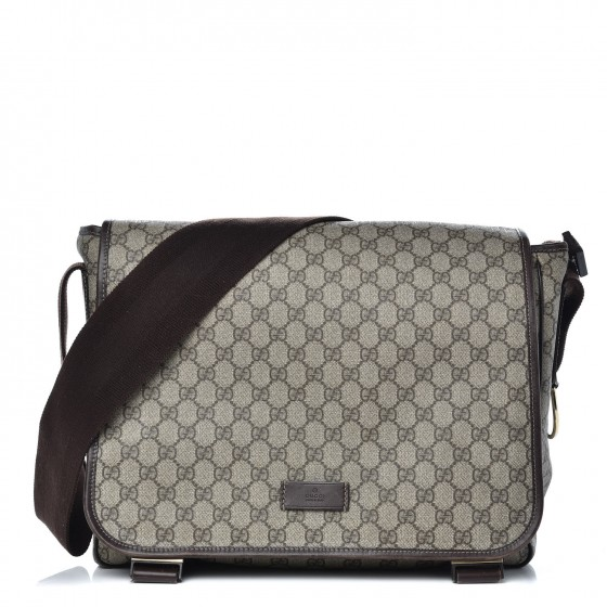 ae7980e7728 GUCCI GG Plus Monogram Messenger Diaper Bag Dark Brown 340061