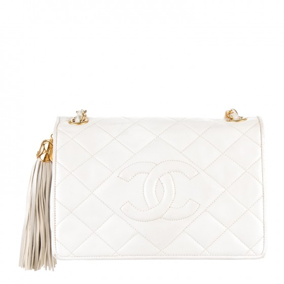 4fc2f37e2426dd CHANEL Lambskin Quilted Small Tassel Single Flap White. Empty. Pinch/Zoom