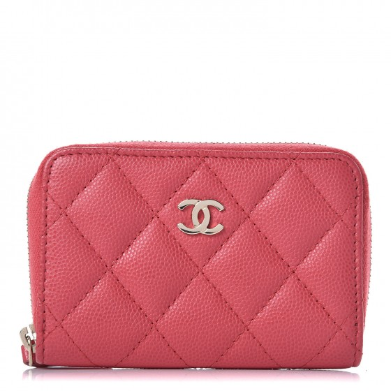 7b12e2928ba5 CHANEL Caviar Quilted Zip Coin Purse Dark Pink 341236
