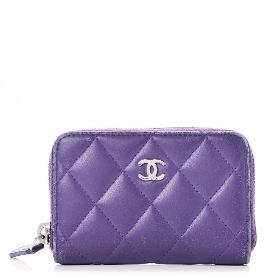 a2b795ce3239 CHANEL Lambskin Quilted Zip Around Coin Purse Wallet Purple 241581
