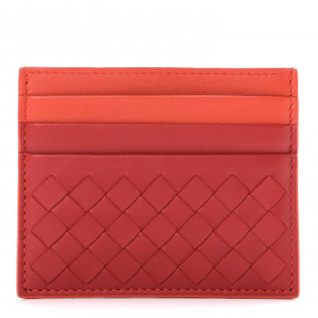 BOTTEGA VENETA Nappa Intrecciato Two Tone Card Holder China Red Geranium