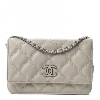 CHANEL Calfskin Double Stitch Hamptons Wallet On Chain WOC Grey