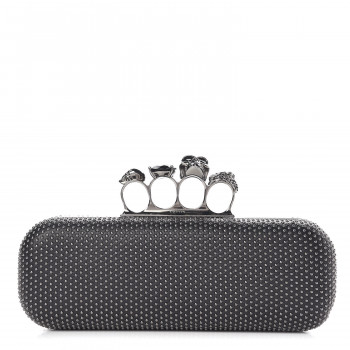 ALEXANDER MCQUEEN Nappa Studded Skull Knuckle Box Clutch Black