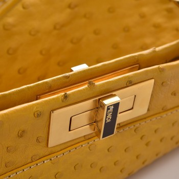 61b2ce4c50 FENDI Ostrich Regular Peekaboo Yellow. Empty. Pinch/Zoom. ‹ › ‹ ›
