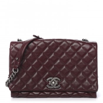 CHANEL Goatskin Quilted Large City Rock Flap Burgundy