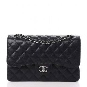 CHANEL Caviar Quilted Jumbo Double Flap Black