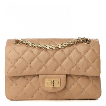 CHANEL Aged Calfskin Quilted 2.55 Reissue Mini Flap Beige