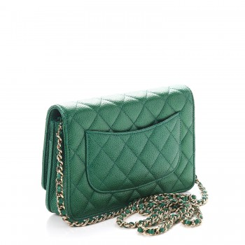 9aba3697ef03 CHANEL Metallic Caviar Quilted Wallet On Chain WOC Green. Empty.  Pinch/Zoom. ‹ › ‹ ›
