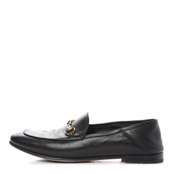 GUCCI Calfskin Womens Brixton Horsebit Loafers 40 Black
