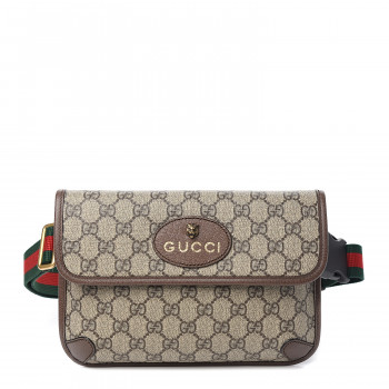 GUCCI GG Supreme Monogram Neo Vintage Web Belt Bag Brown