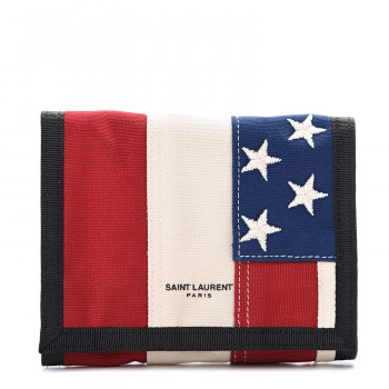 SAINT LAURENT Canvas American Flag Print Buffalo Compact Wallet