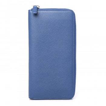 PRADA Saffiano Portfolio Zip Around Wallet Azzurro