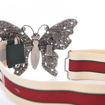 8f9b11ad03c GUCCI Jacquard Crystal Butterfly Belt 80 32 White. Empty. Pinch Zoom. ‹ › ‹  ›
