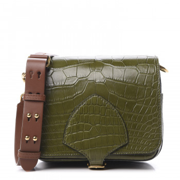 BURBERRY Alligator Square Satchel Dark Antique Green