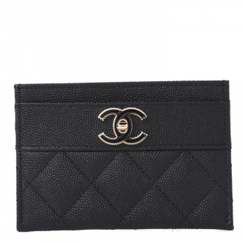 CHANEL Caviar Quilted Vintage Mademoiselle Card Holder Black