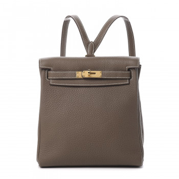 HERMES Taurillon Clemence Kelly Ado Backpack Etoupe