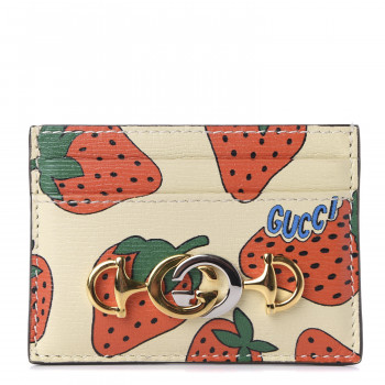 GUCCI Calfskin Zumi Strawberry Print Case Case Ivory Red