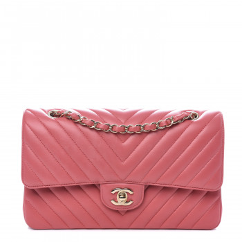 CHANEL Lambskin Chevron Quilted Medium Double Flap Pink