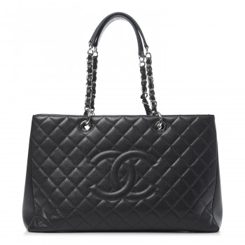 CHANEL Caviar Quilted XL Grand Shopping Tote GST Dark Grey