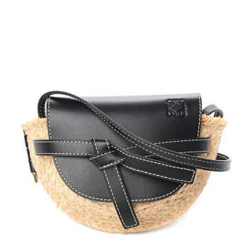 LOEWE Calfskin Raffia Mini Gate Crossbody Bag Natural Black