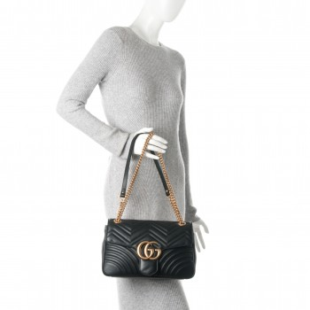 a3368fc5af9 GUCCI Calfskin Medium GG Marmont Matelasse Shoulder Bag Black. Empty.  Pinch Zoom