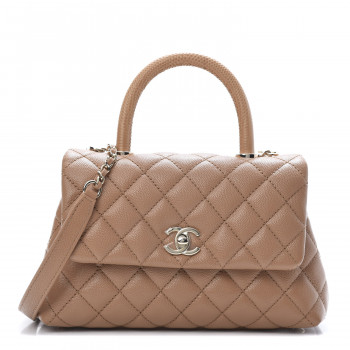 CHANEL Caviar Quilted Lizard Embossed Mini Coco Handle Flap Brown