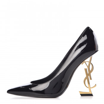 7e719feca89 SAINT LAURENT Patent Calfskin Opyum 110 Pumps 38 Black Gold. Yves Saint  Laurent