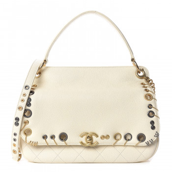 CHANEL Caviar Quilted Grommet Embellished Piercing Chic Flap Bag Ivory