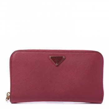 PRADA Saffiano Triangle Zip Around Wallet Ibisco