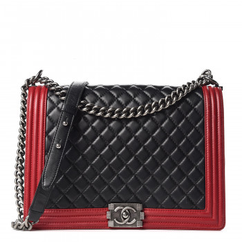 652537346e8b1 CHANEL Lambskin Quilted Large Boy Flap Black Red