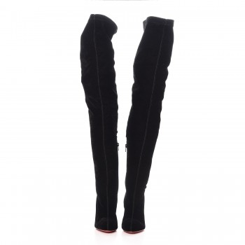079894f9e2f CHRISTIAN LOUBOUTIN Velvet Classe 100 Stretch Over The Knee Boots 38 Black.  Pinch Zoom