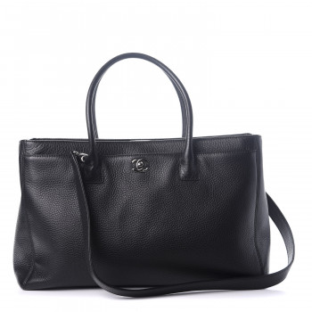 CHANEL Calfskin XL Cerf Executive Shopper Tote Black