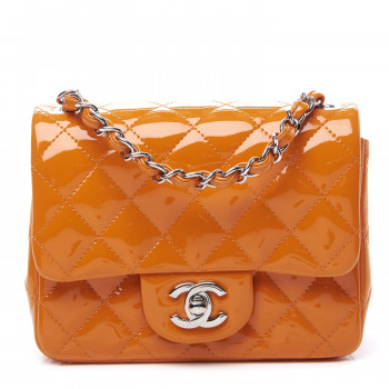 CHANEL Patent Quilted Mini Square Flap Orange