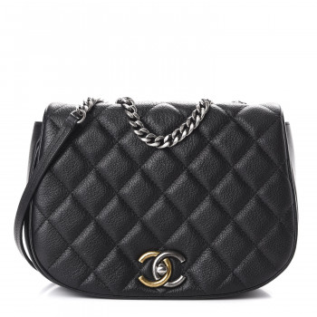 CHANEL Calfskin Quilted Casual Pocket Messenger Flap Black