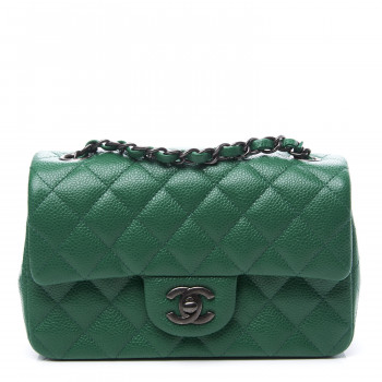 CHANEL Caviar Quilted Mini Rectangular Flap Green