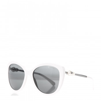CHANEL Acetate Pearl Butterfly Sunglasses 5338-H White