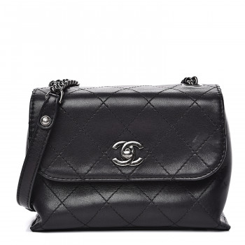 CHANEL Calfskin Stitched Small Crossbody Flap Black