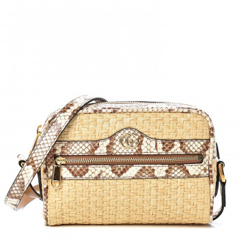 GUCCI Raffia Watersnake Mini Ophidia Crossbody Bag Beige