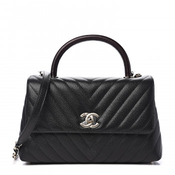 CHANEL Caviar Lizard Embossed Quilted Small Coco Handle Flap Black