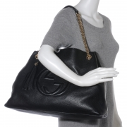 284205e9f44 GUCCI Leather Large Soho Tote w Double Chain Straps Black. Empty. Pinch Zoom