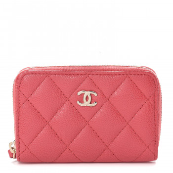 CHANEL Caviar Quilted Zip Coin Purse Dark Pink